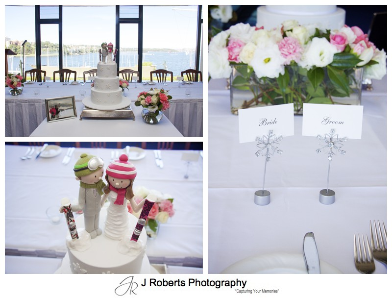 Reception details at the RSYS including skiing figures on wedding cake = wedding photography sydney