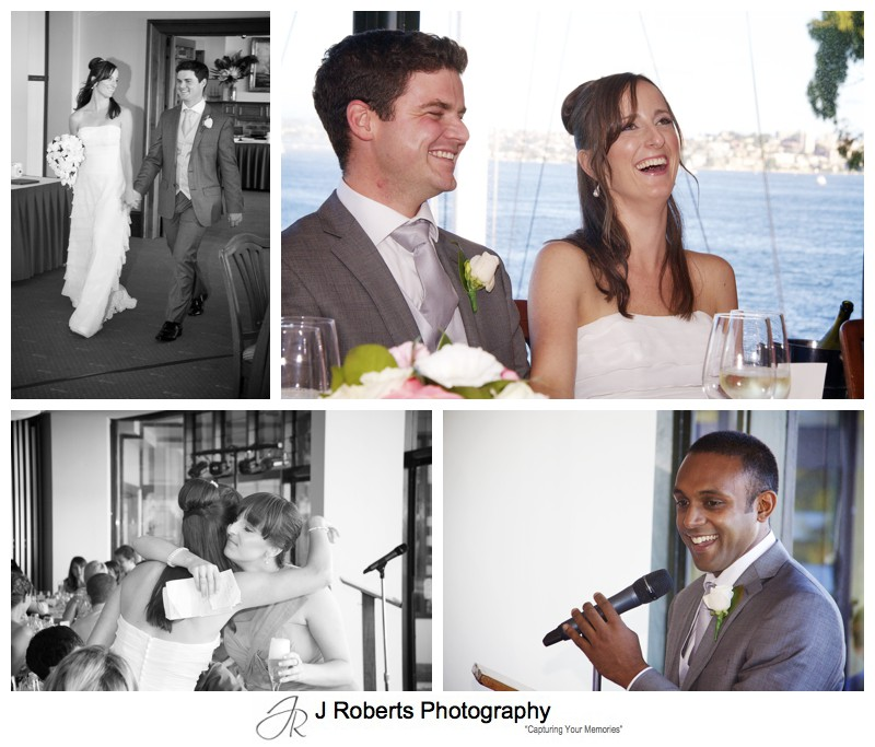 Bride and grooms arriving and wedding speeches - wedding photography sydney