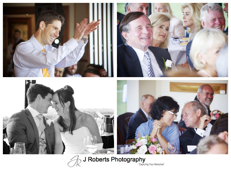 Guests laughing at wedding speeches = wedding photography sydney