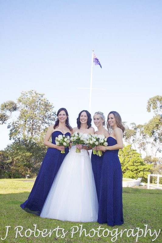 Bride and bridesmaids in navy blue at Georges Heights Mosman - wedding photography sydney