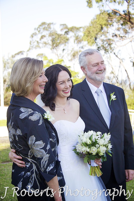 Bride with her parents pre wedding at Georges Heights Mosman - wedding photography sydney