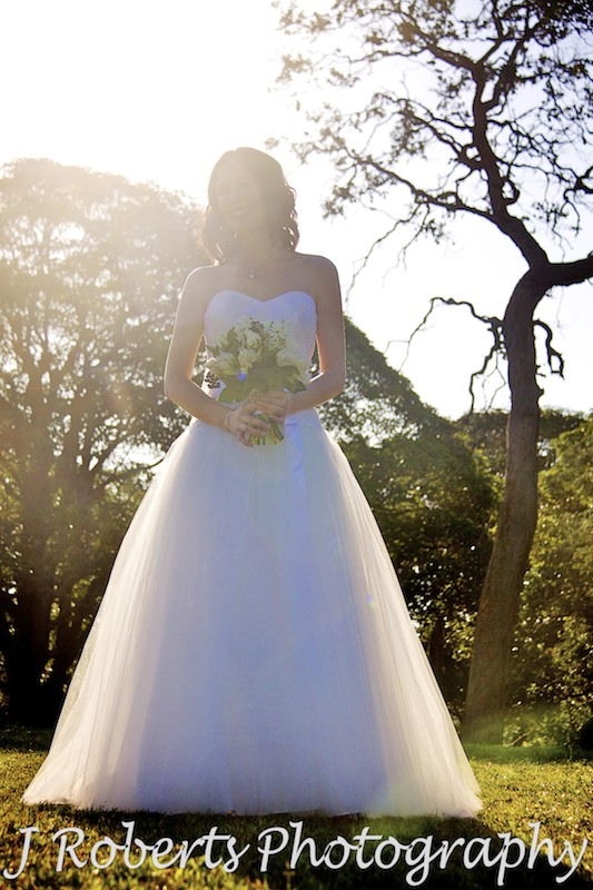 Bride with the sun behind her - wedding photography sydney