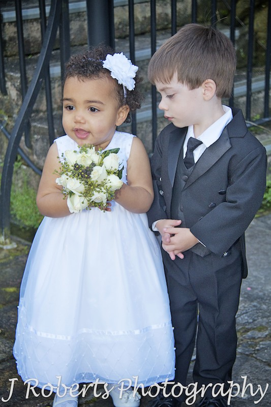 Paige Boys in morning suit and flower girl - wedding photography sydney