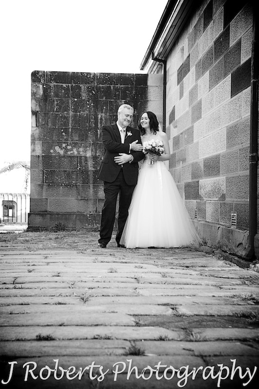 Bride and father preparing to walking down the aisle at historic Gunners' Barracks - wedding photography sydney