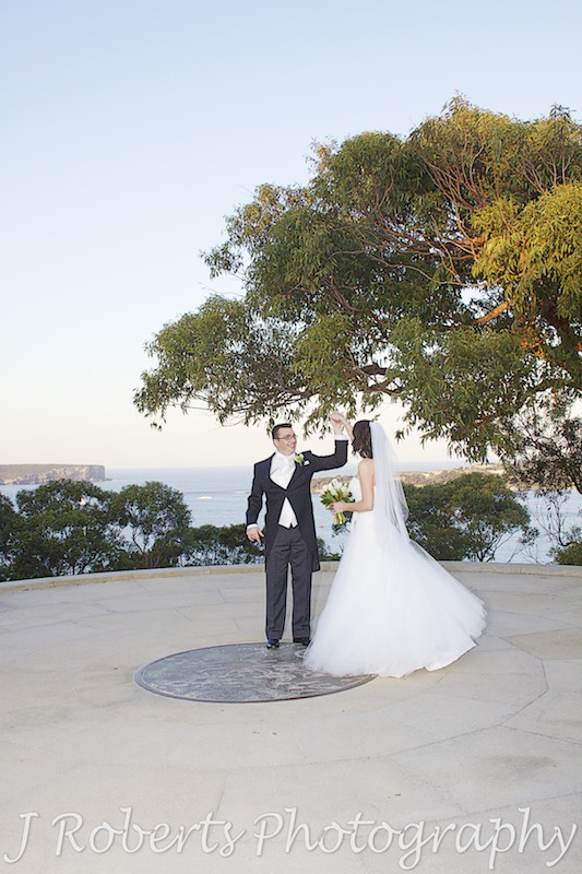 Bride and groom dancing on Georges Head Mosman - wedding photography sydney