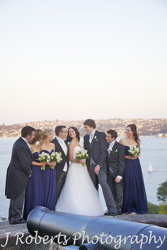 Bridal party near canons on Georges Headland Mosman - wedding photography sydney