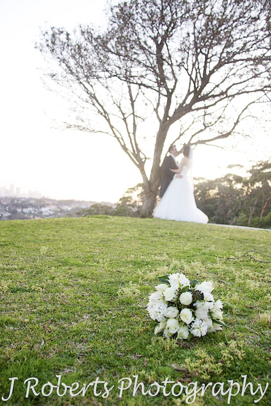 Bride and groom kissing under a tree - wedding photography sydney