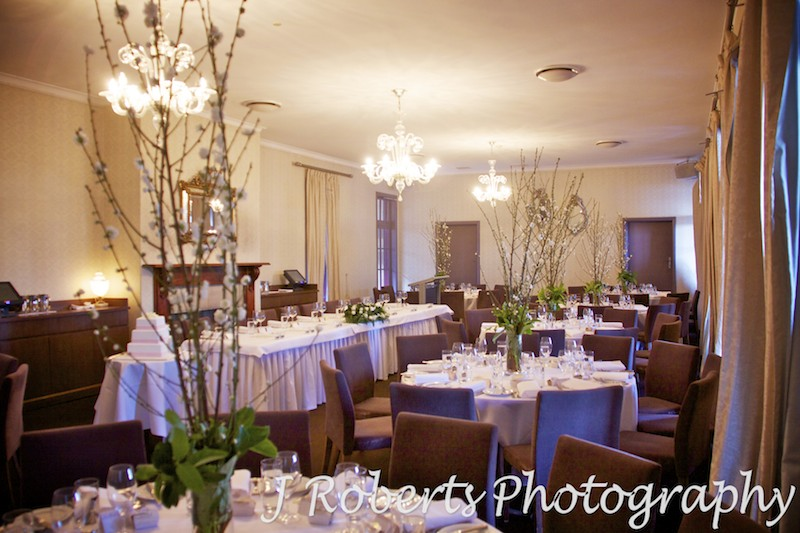 reception room set up at The Tea Rooms Gunners' Barracks Mosman - wedding photography sydney