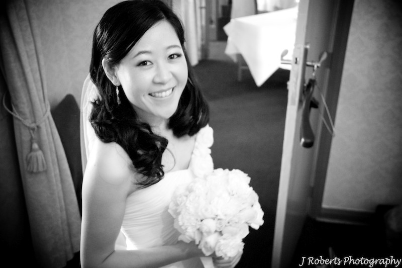B&W smiling bride - wedding photography sydney
