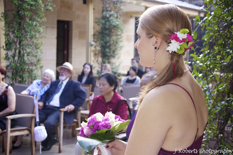 Bridemaids flowers in hair - wedding photography sydney