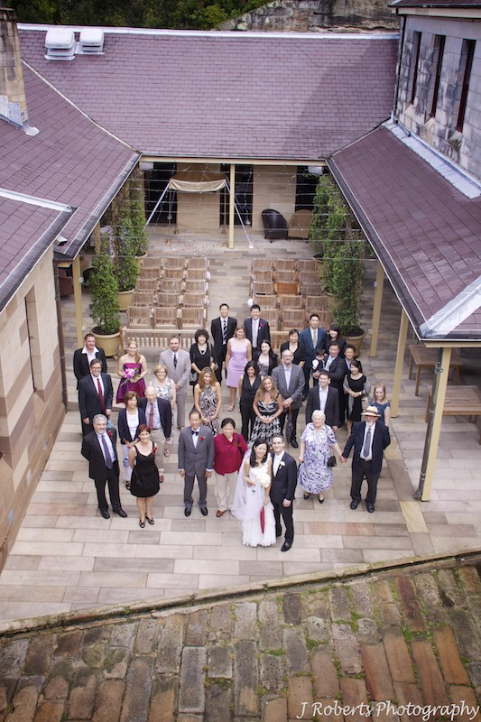 Whole group photo in courtyard Gunners' Barracks - wedding photography sydney