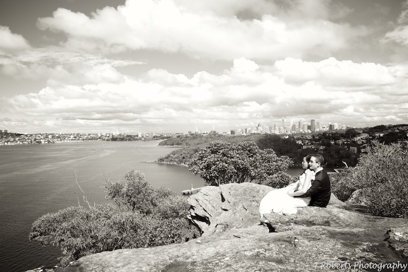 Sepia bride and groom looking at the view - wedding photography sydney