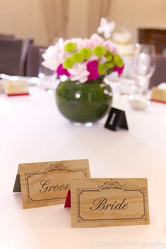 Wedding place settings - wedding photography sydney