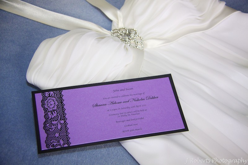 Wedding invitation and wedding dress - wedding photography sydney
