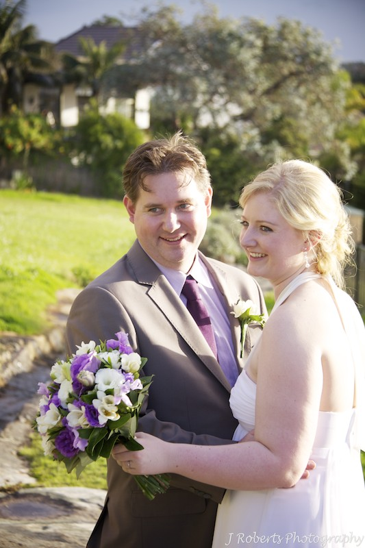 Bride and groom smiling - wedding photography sydney