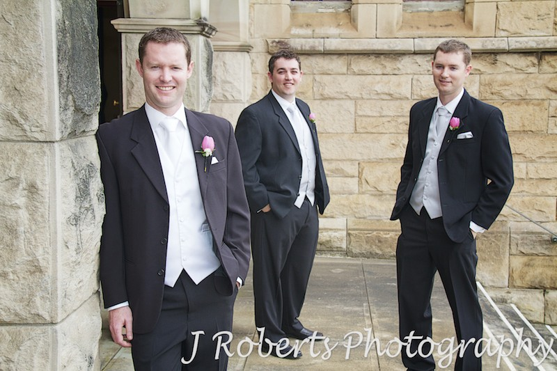 Groom and groomsmen outside church - wedding photography sydney