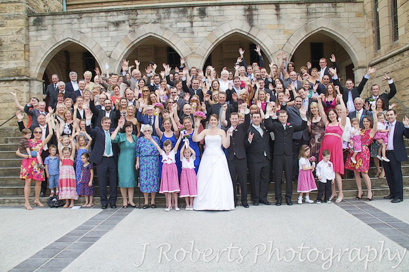 Group photo on church steps - wedding photography sydney