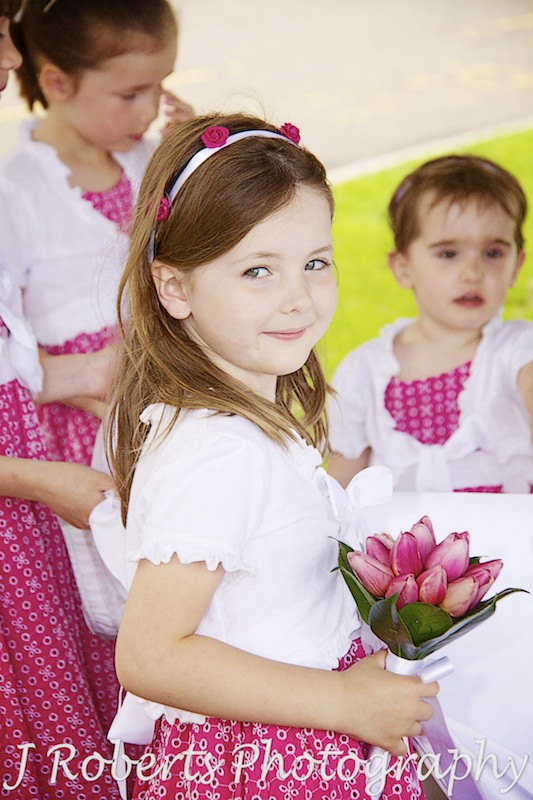 Pretty flower girl in pink dress - wedding photography sydney