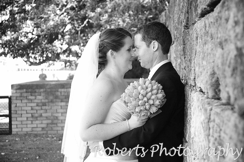 Bride and groom nose to nose - wedding photography sydney