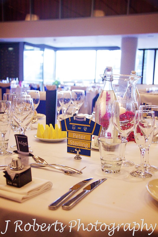 Parramatta Eels named tables at wedding reception - wedding photography sydney