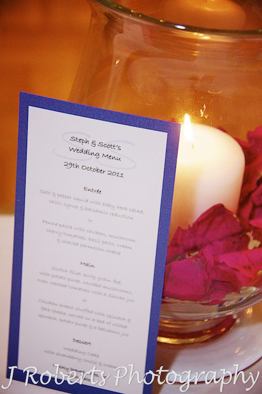 Wedding menu at the Kirribilli Club - wedding photography sydney