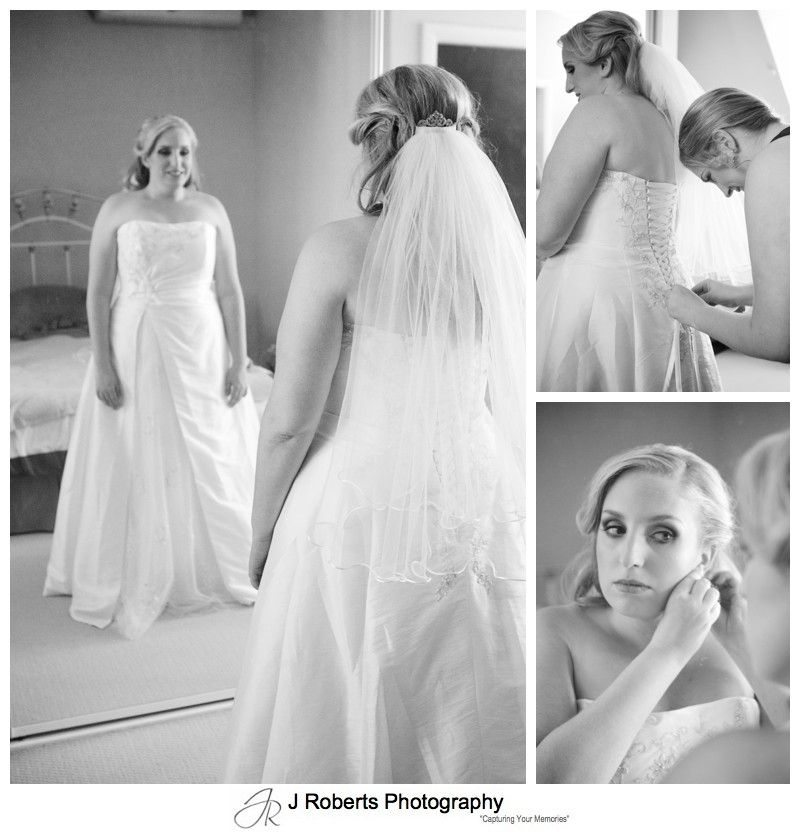 B&W portraits of a brides preparation - wedding photography sydney