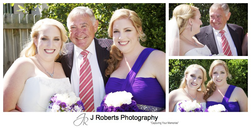 A bride with her bridesmaid and father - wedding photography sydney