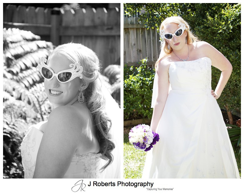 Bride with groovy sunglasses - wedding photography sydney