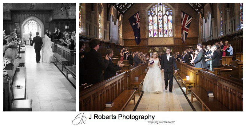Bride and groom leaving the chapel - wedding photography sydney