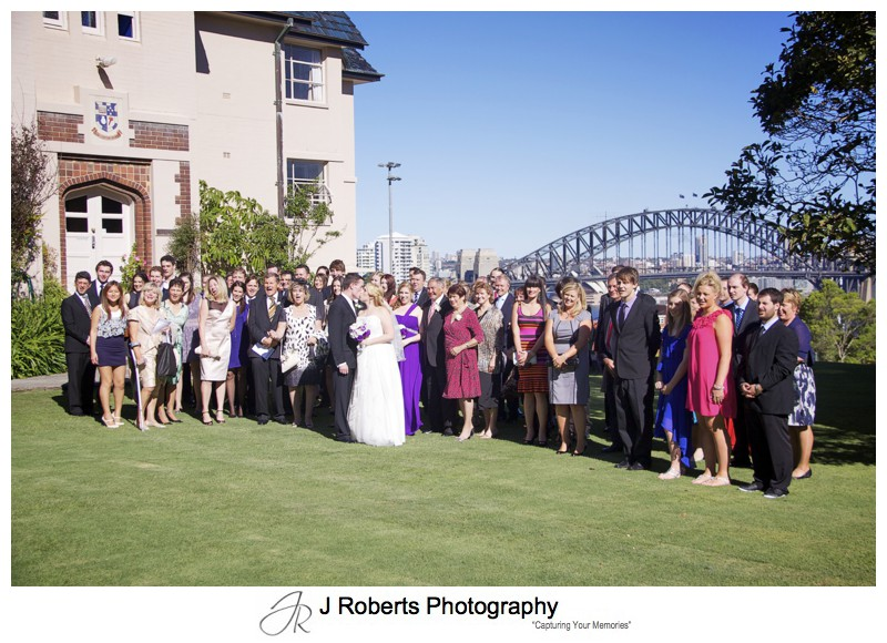 Wedding Group at Shore School lawns - wedding photography sydney