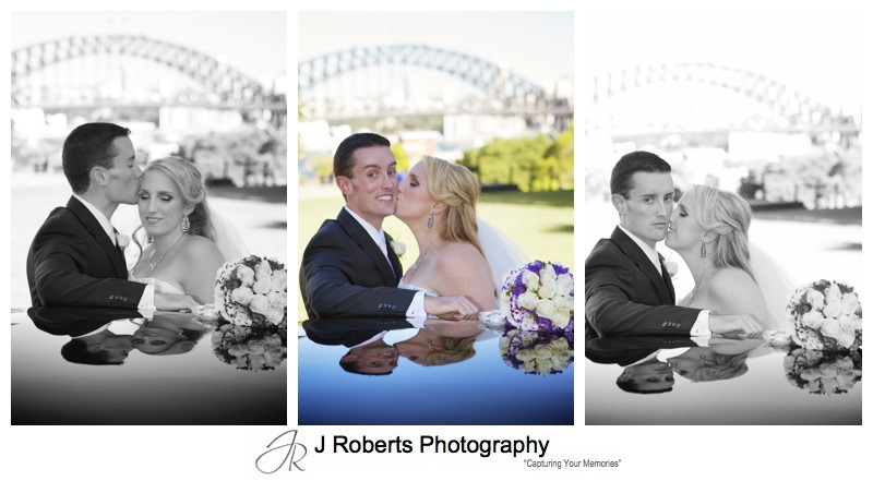 Bride and groom portraits with bridal cars - wedding photography sydney