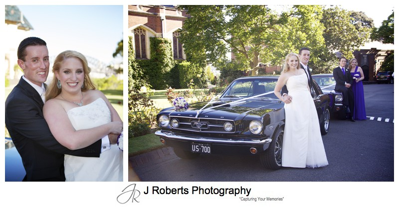 Bridal party with Mustang Sally cars - wedding photography sydney