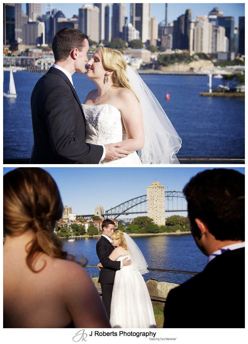 Bride and groom at Balls head reserve Waverton - wedding photography sydney