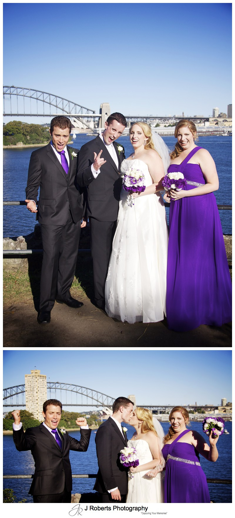 Bridal party celebrating with Sydney Harbour as backdrop - wedding photography sydney