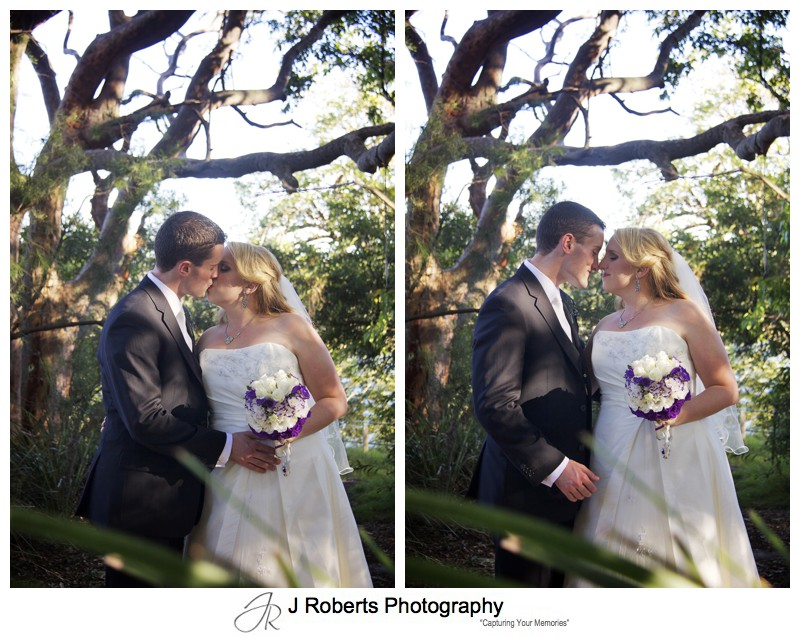Couple kissing in australian bush - wedding photography sydney