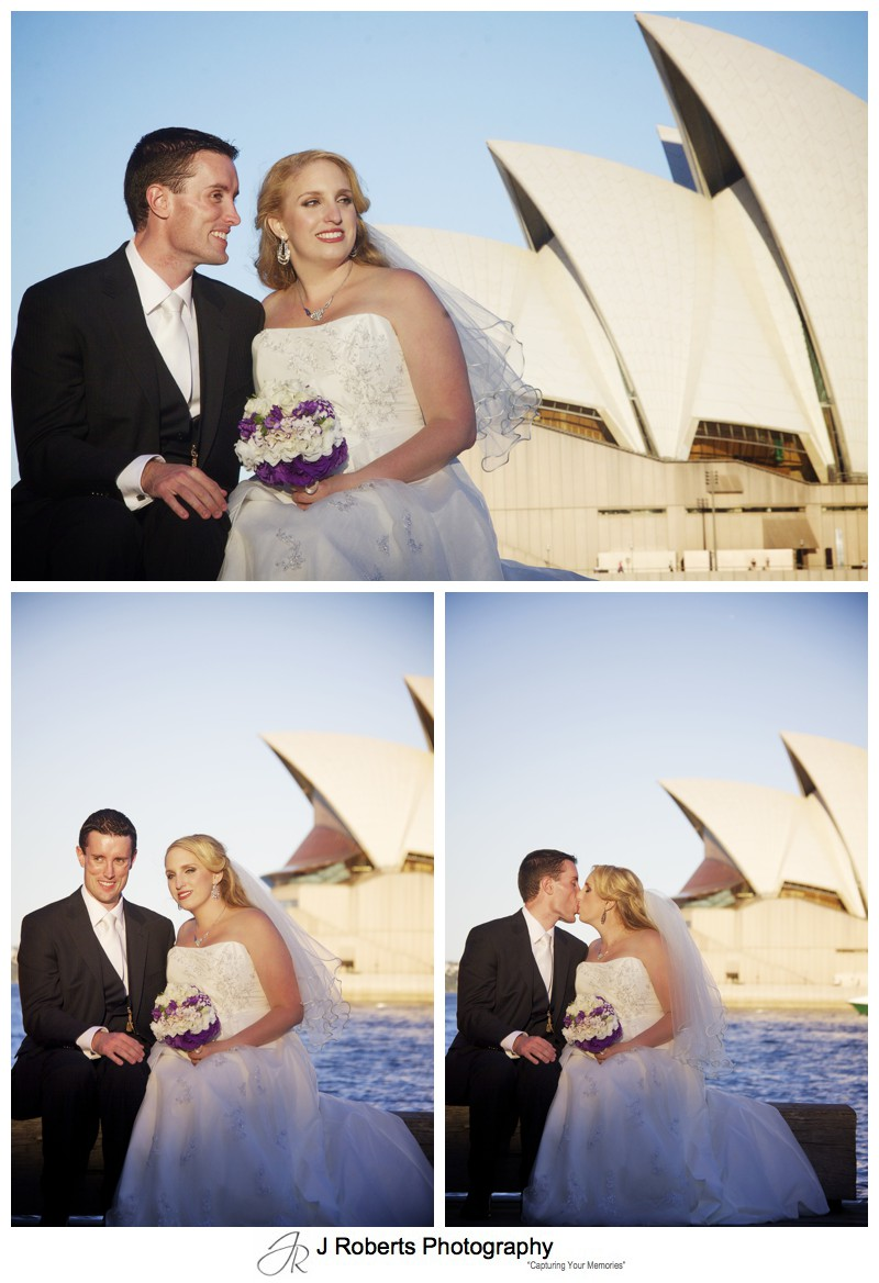 Setting sun at Sydney Opera House - wedding photography sydney