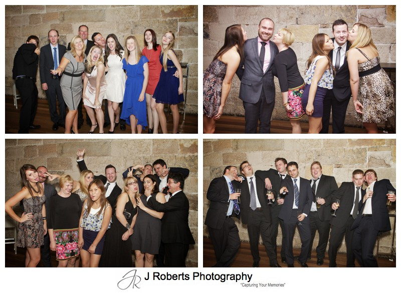 Great fun group photographs at wedging reception - wedding photography sydney