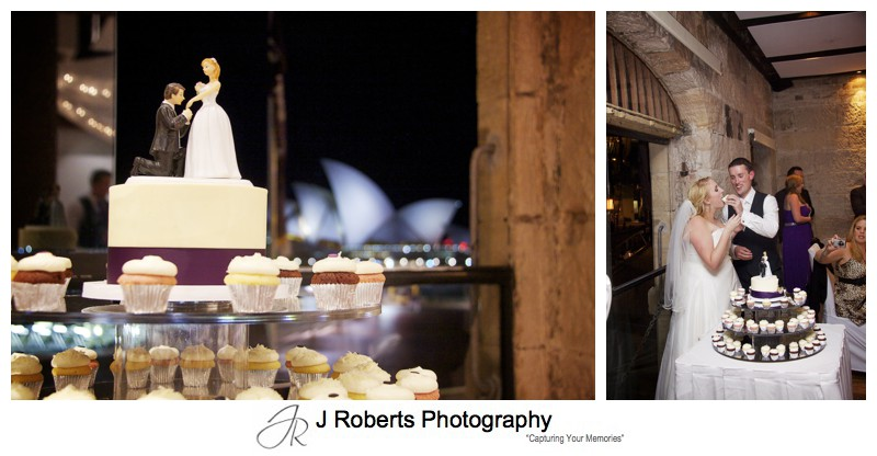 Cake cutting at Wolfies Grill - wedding photography sydney