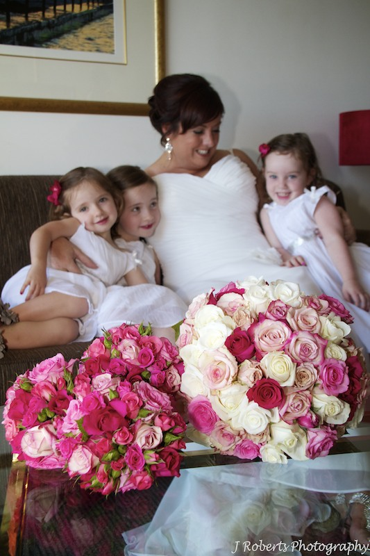 Bride with flower girls behind bridal bouquets by Show Posies - Wedding Photography Sydney