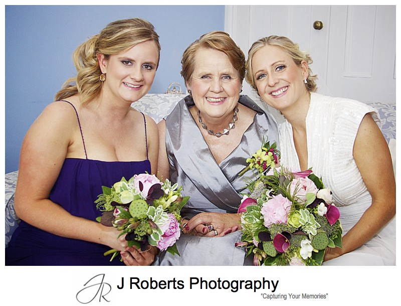Bride with her mother and sister pre wedding - wedding photography sydney