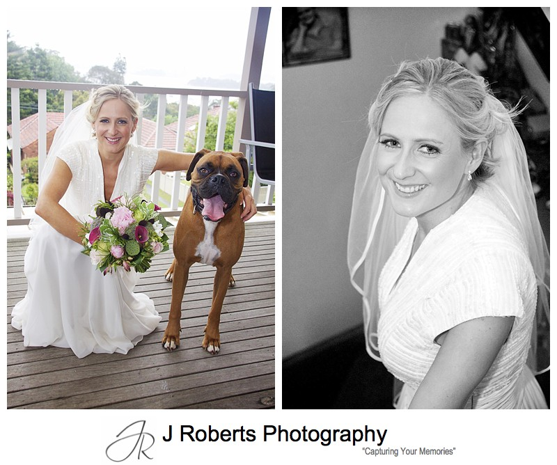 Bride with her dog - wedding photography sydney