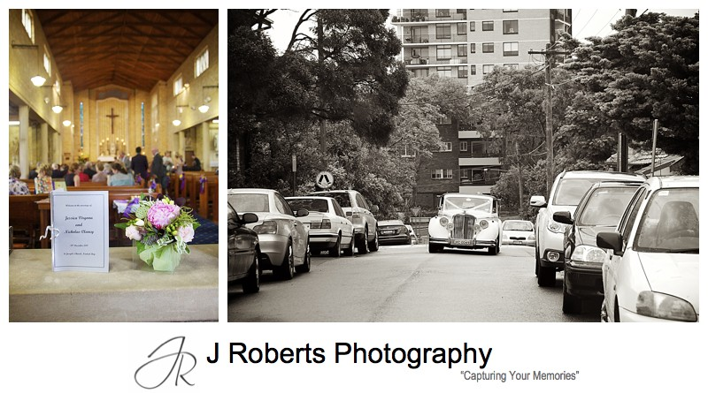 bridal car arriving at church - wedding photography sydney
