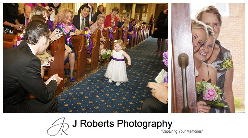 Flower girl running down the aisle - wedding photography sydney