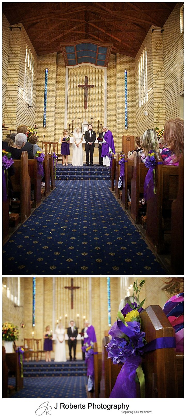 Bride and groom at end of decorated church aisle - wedding photography sydney