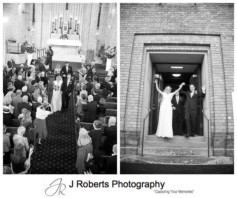 Yeah bride and groom leave church - wedding photography sydney
