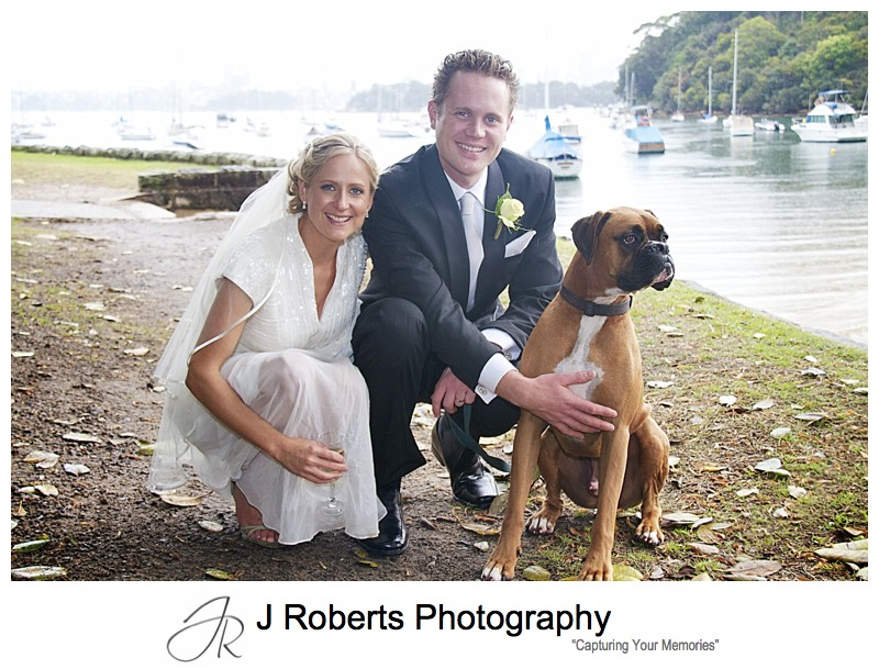 Bride and groom with their dog - wedding photography sydney