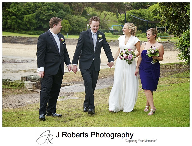 Bridal party walking at Sirius Cove Mosman - wedding photography sydney
