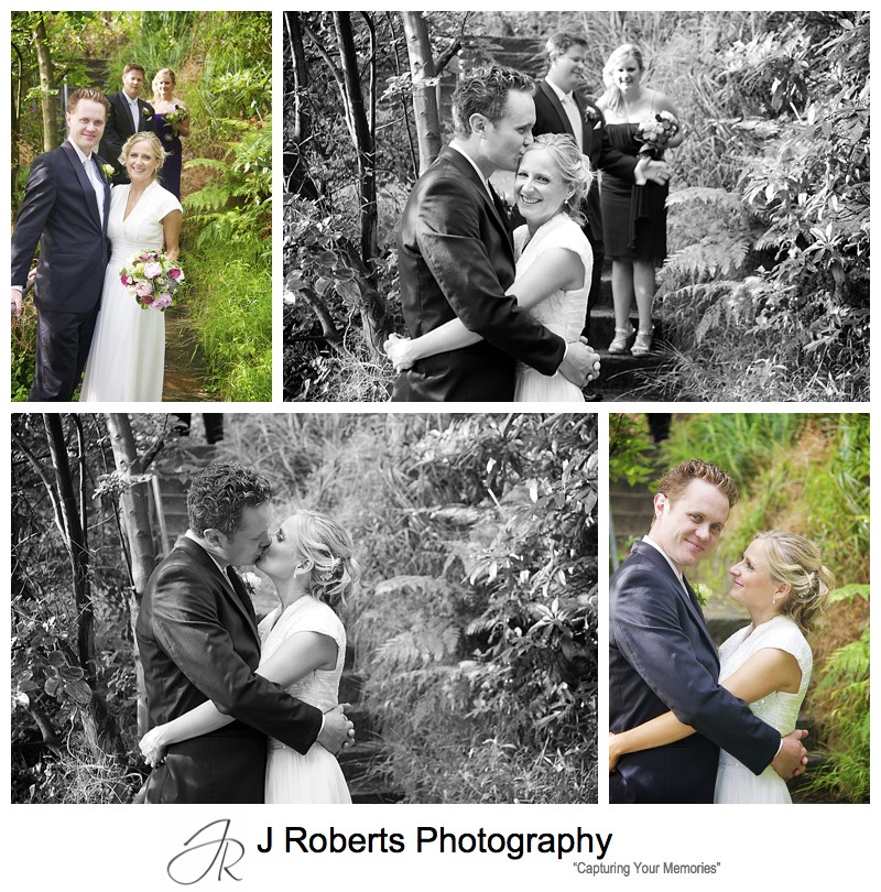 Couple with bridal party in bush at Sirius Cove Mosman - wedding photography sydney
