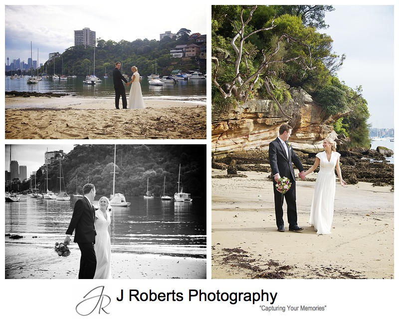 Bride and groom walking on beach - wedding photography sydney