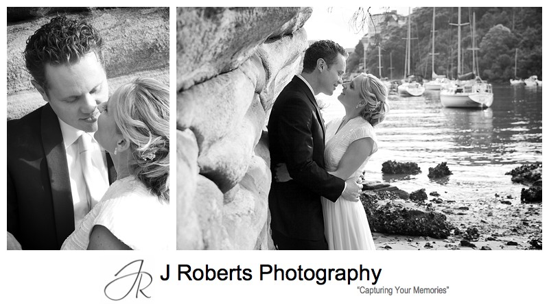 B&W of couple almost kissing - wedding photography sydney